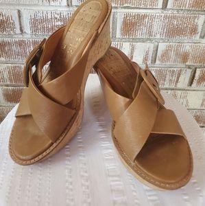 Sofft Leather Strap Sandal Wedges
